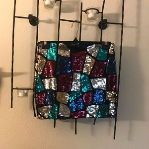 Sequined patchwork skirt